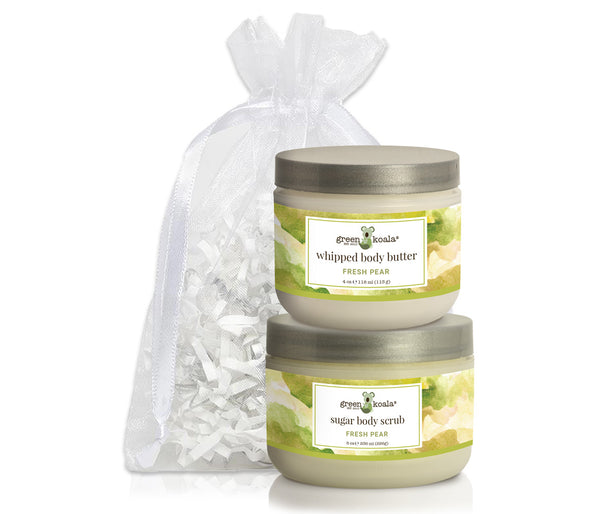 Organic Fresh Pear Body Butter & Scrub gift set packaged in a white organiza bag