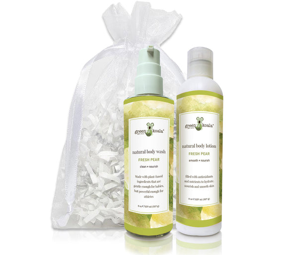 Organic Fresh Pear Body Wash & Lotion gift set packaged in a white organiza bag