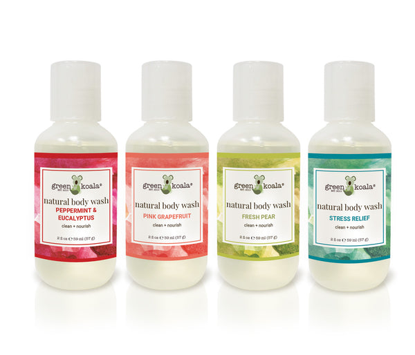 Natural body wash gift set with four 2 oz body wash bottles