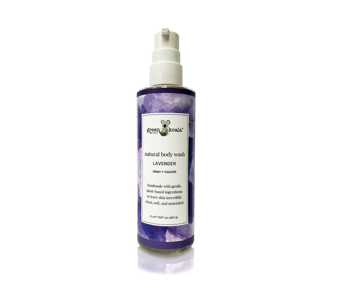 One 8 oz bottle of natural lavender body wash with pump.