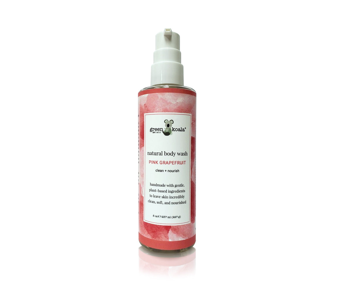 One 8 oz bottle of natural pink grapefruit body wash with pump.