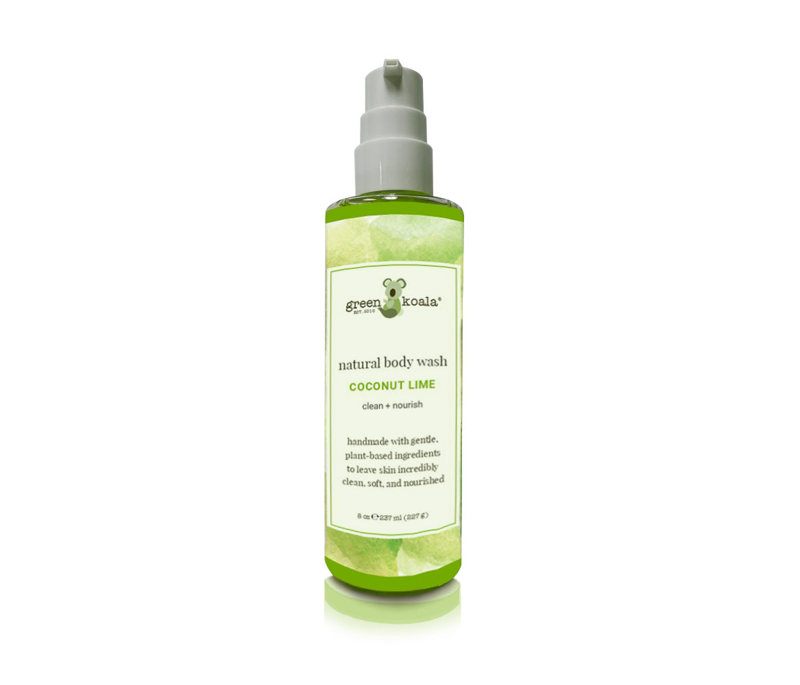 Natural Coconut Lime Body Wash in 8 oz container with pump.