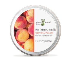 Georgia peach eco-luxury candle in a round 6 oz tin with image of peaches on tin candle. Made with premium coconut wax for a clean, non-toxic burn and sustainability.