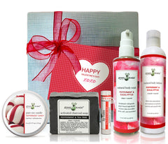 Organic Valentine's Gift Box Set with peppermint candy tin candle, peppermint & tee tree bar soap, peppermint lip balm, Peppermint & Eucalyptus body wash, and peppermint & Eucalyptus body lotion