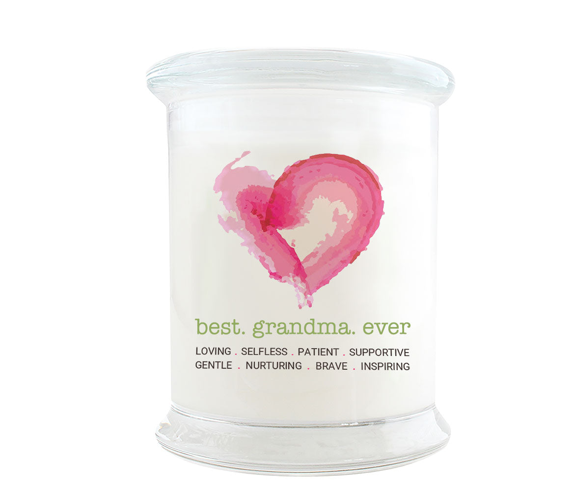 Best Grandma Ever Candle: Watercolor heart. Loving, Selfless, Patient, Supportive, Gentle, Nurturing, Brave and Inspiring