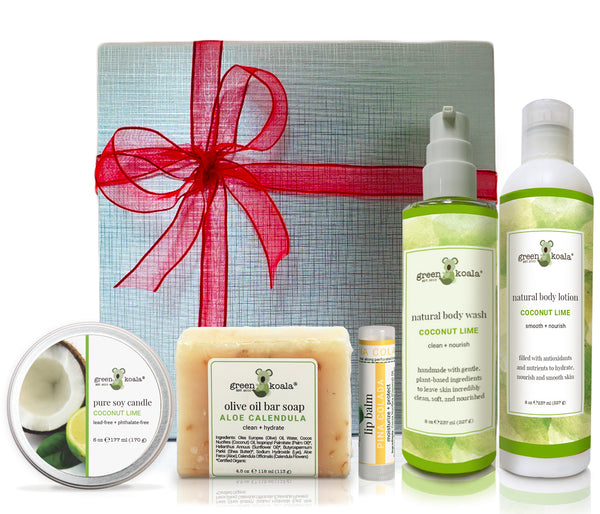 Organic Coconut Lime gift box with tin candle, bar soap, lip balm, body wash and body lotion