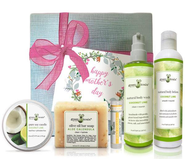 Organic Coconut Lime mothers day gift box with tin candle, bar soap, lip balm, body wash and body lotion