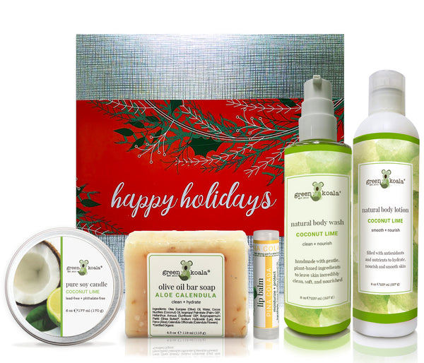 Organic Coconut Lime holiday gift box with tin cande, bar soap, lip balm, body wash and body lotion
