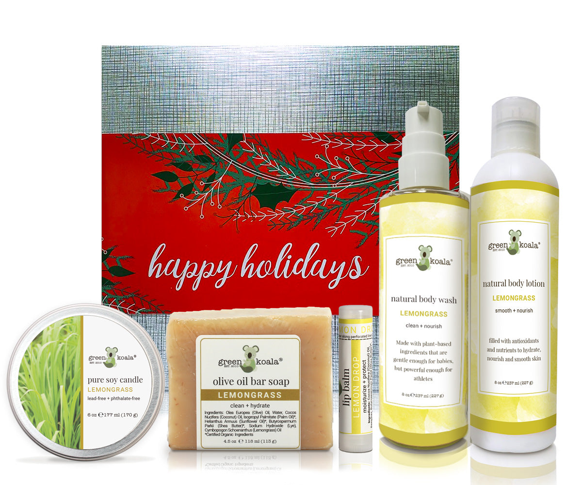 Lemongrass holiday gift box with tin candle, bar soap, lip balm, body wash, and body lotion