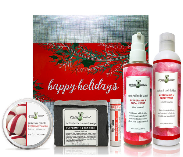 Organic Holiday Gift Box Set with peppermint candy tin candle, peppermint & tee tree bar soap, peppermint lip balm, Peppermint & Eucalyptus body wash, and peppermint & Eucalyptus body lotion
