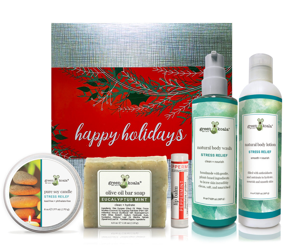 Organic Holiday Gift Box set with stress relief tin candle, bar soap, lip balm, body wash and body lotion
