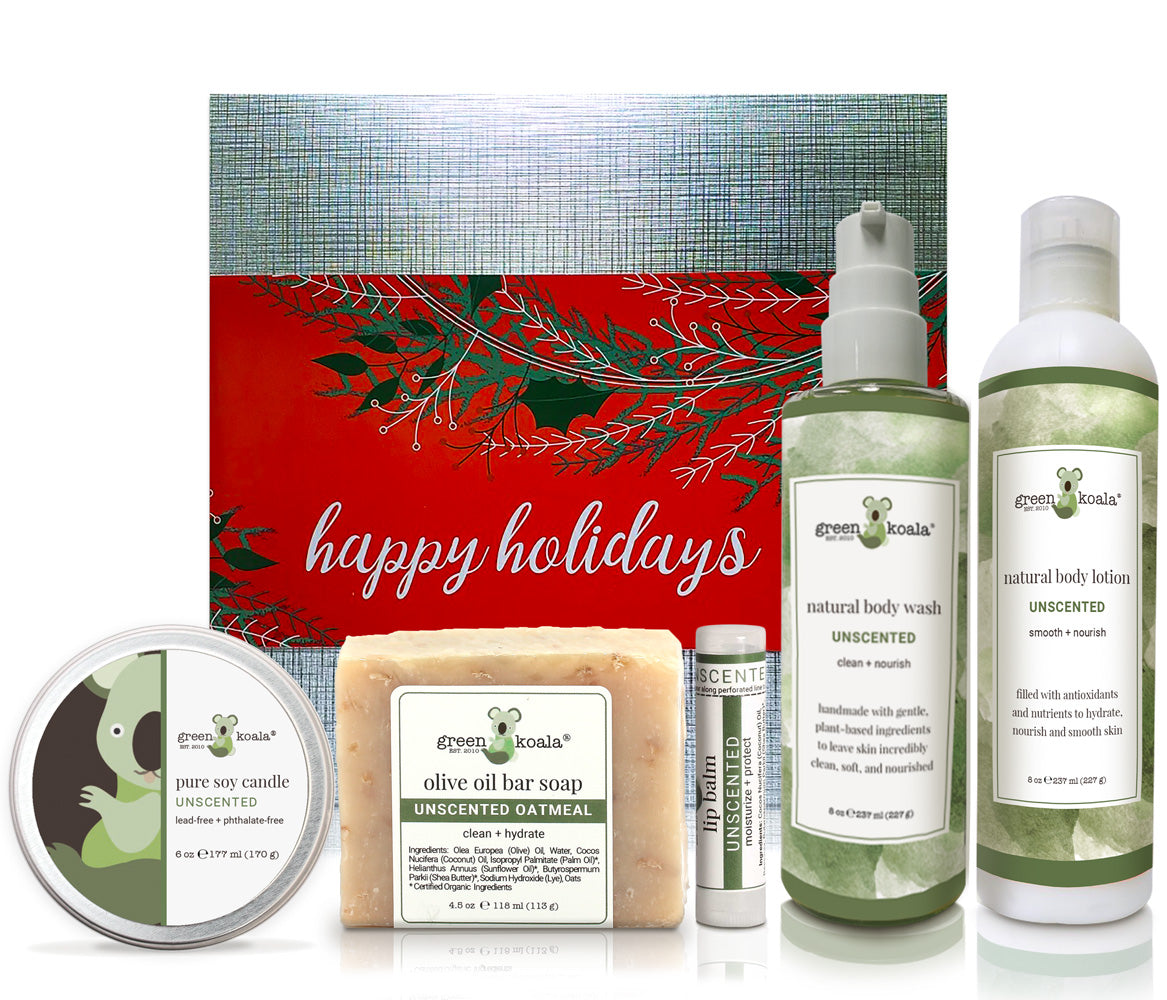 Unscented organic holiday gift box set with tin candle, bar soap, lip balm, body wash and body lotion