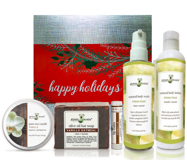 Vanilla & Pear Holiday Gift Box Set with candle, bar soap, lip balm, body wash and body lotion.