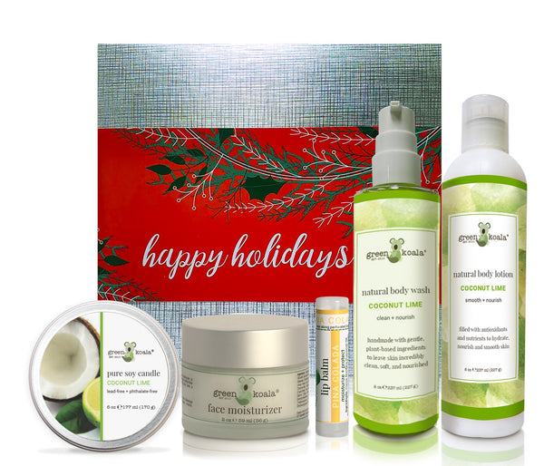 Organic Coconut Lime ultimate holiday gift box with tin cande, face moisturizer, lip balm, body wash and body lotion