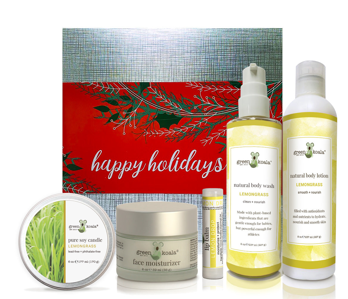 Lemongrass ultimate holiday gift box with tin candle, face moisturizer, lip balm, body wash, and body lotion