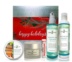 Stress Relief ultimate holiday gift box with tin candle, face moisturizer, lip balm, body wash and body lotion