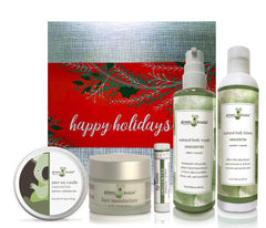 Unscented organic holiday gift box set with tin candle, face moisturizer, lip balm, body wash and body lotion