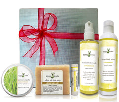 Lemongrass gift box with tin candle, bar soap, lip balm, body wash, and body lotion