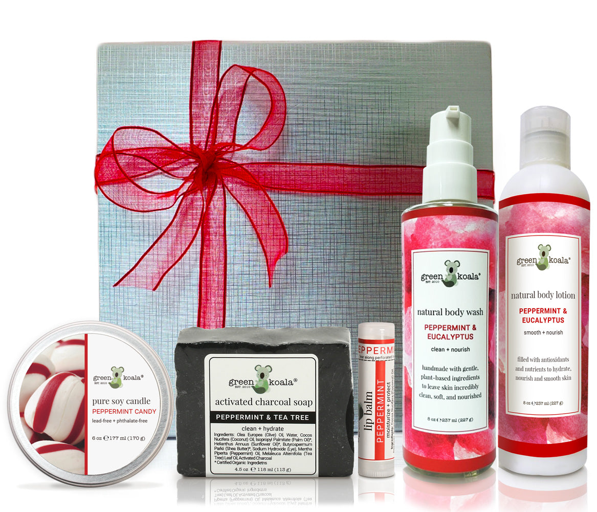 Organic Gift Box Set with peppermint candy tin candle, peppermint & tee tree bar soap, peppermint lip balm, Peppermint & Eucalyptus body wash, and peppermint & Eucalyptus body lotion