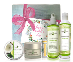 Green Koala Ultimate Coconut Lime Mother's Day Gift set with candle, face moisturizer, lip balm, lotion and body wash