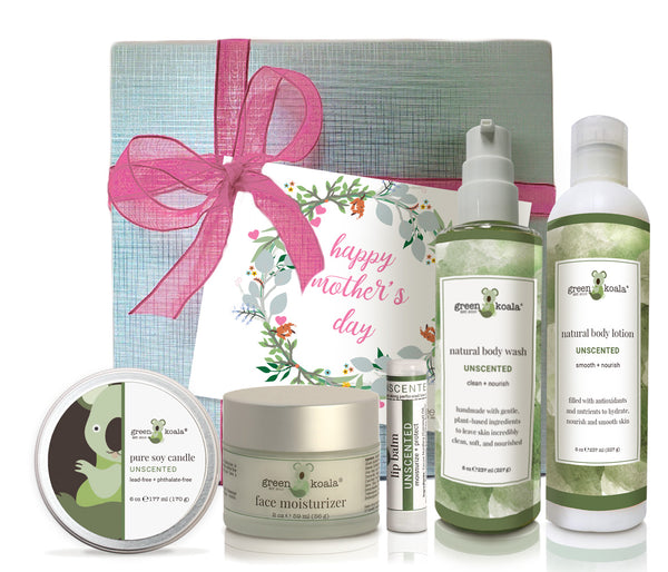 Unscented organic Mother's Day gift box set with tin candle, face moisturizer, lip balm, body wash and body lotion