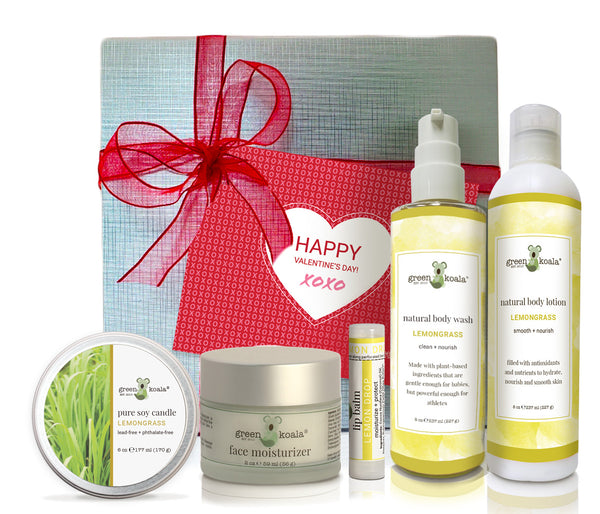 Lemongrass ultimate Valentine's gift box with tin candle, face moisturizer, lip balm, body wash, and body lotion