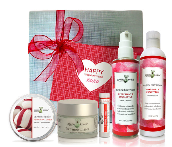 Organic peppermint & eucalyptus ultimate Valentine's gift box with tin candle, face moisturizer, lip balm, body wash, and body lotion