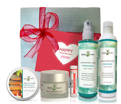 Stress Relief ultimate Valentine's gift box with tin candle, face moisturizer, lip balm, body wash and body lotion