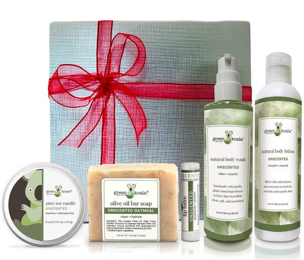 Unscented organic gift box set with tin candle, bar soap, lip balm, body wash and body lotion