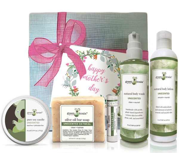 Unscented organic Mother's Day gift box set with tin candle, bar soap, lip balm, body wash and body lotion