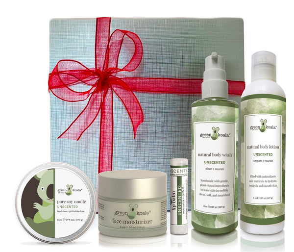 Unscented organic gift box set with tin candle, face moisturizer, lip balm, body wash and body lotion