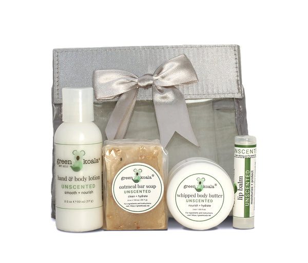 Organic Unscented Mini Body Care Gift Set in Silver Gift Bag