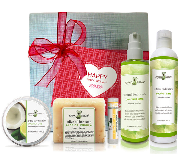 Organic Coconut Lime Valentine's gift box with tin cande, bar soap, lip balm, body wash and body lotion