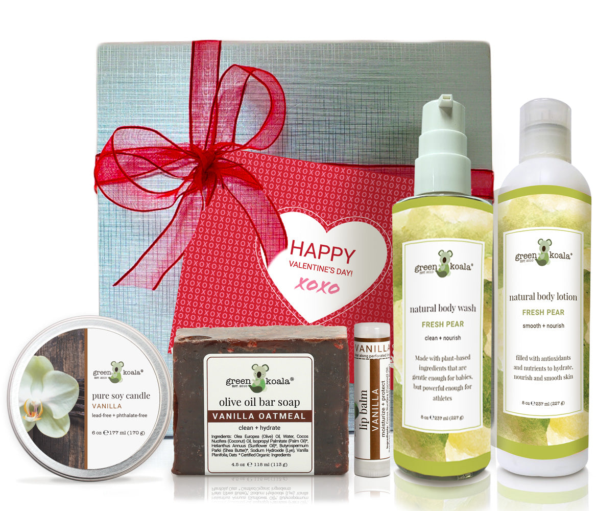 Vanilla & Pear Valentine's Gift Box Set with candle, bar soap, lip balm, body wash and body lotion.