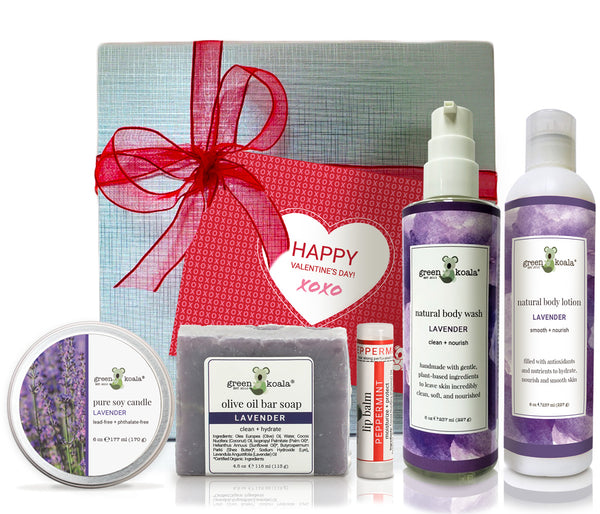 Organic Lavender Valentine's Gift Set with coconut creme tin candle, bar soap, lip balm, body wash and lotion