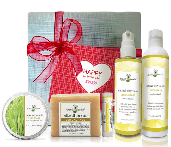Lemongrass Valentine's gift box with tin candle, bar soap, lip balm, body wash, and body lotion