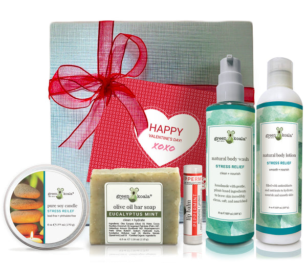 Organic Valentine's Gift Box set with stress relief tin candle, bar soap, lip balm, body wash and body lotion