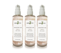 Set of 3 natural vanilla body wash 8 oz bottles with pump.