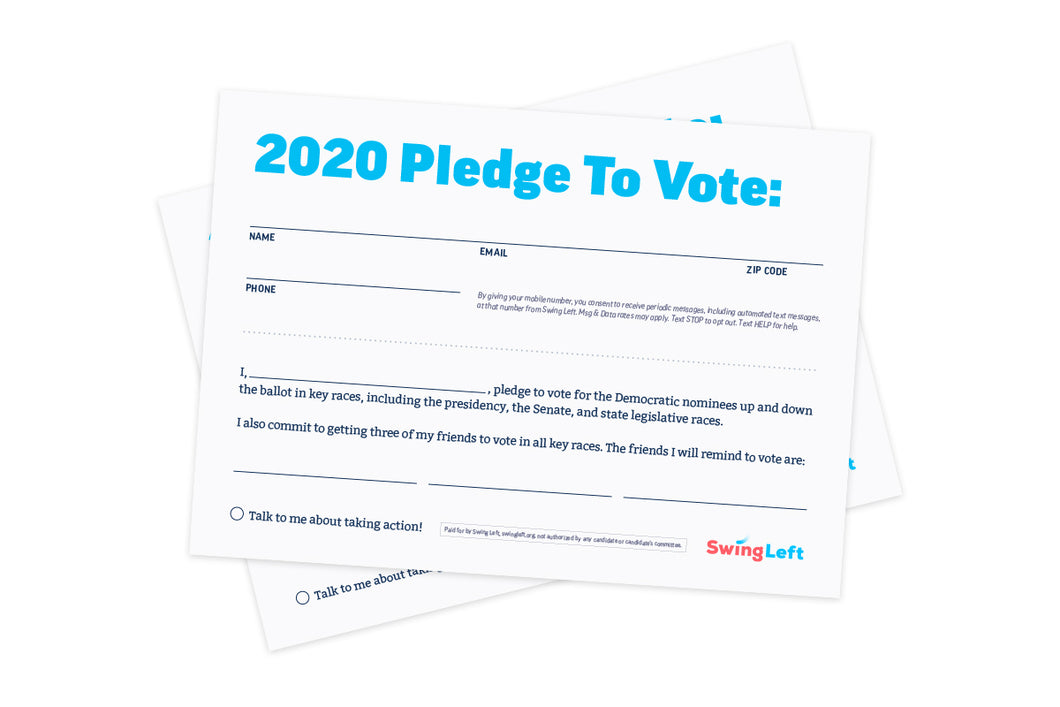 2020 College Pledge To Vote Cards