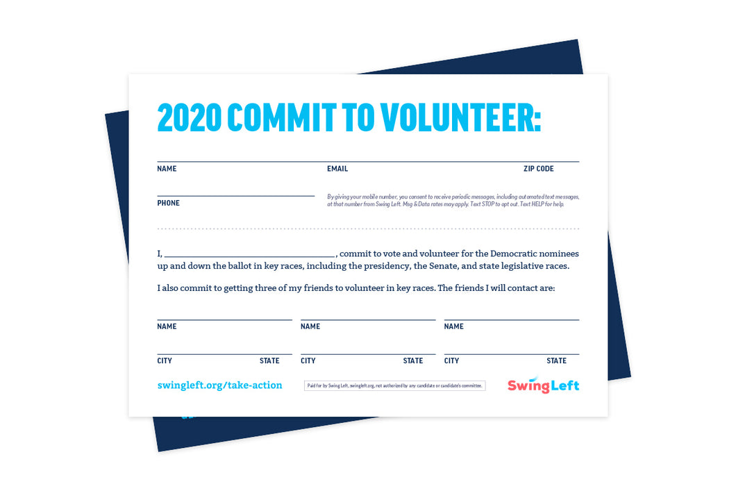 2020 Commit To Volunteer Cards | Pack of 50