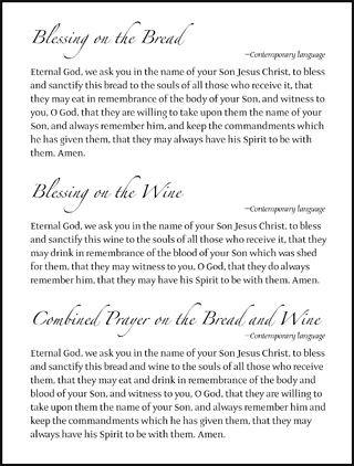 Communion Prayers - Hymnal Insert