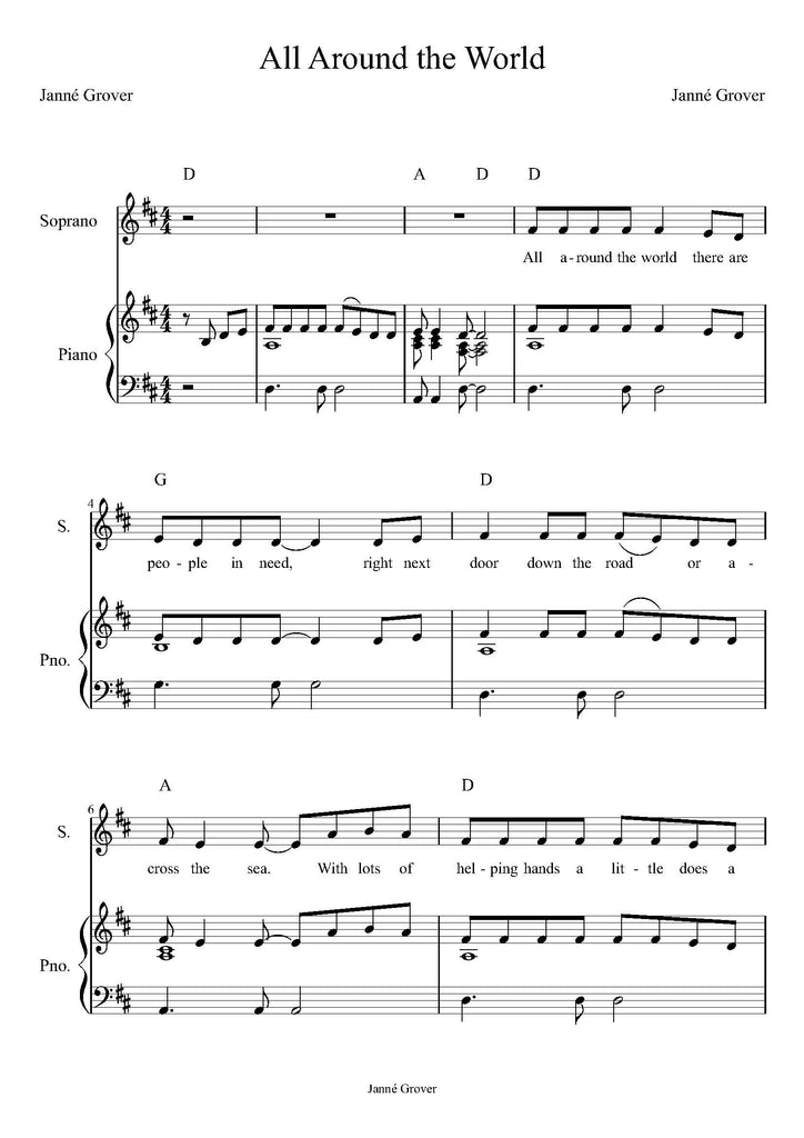 Sheet Music - All Around the World (PDF Download)