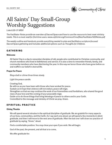 All Saints' Day Worship Outlines (PDF Download)