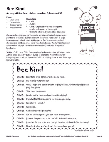 Bee Kind Skit (PDF Download)