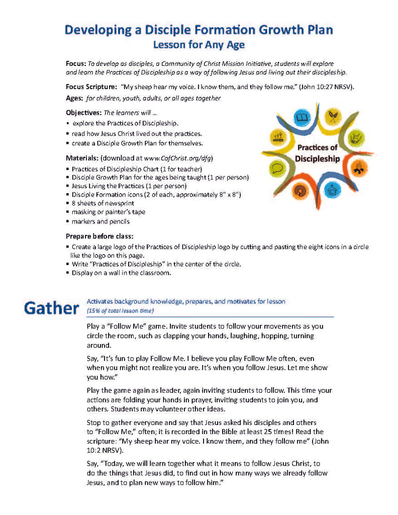 Developing a Disciple Formation Growth Plan Lesson for All Ages (PDF Download)