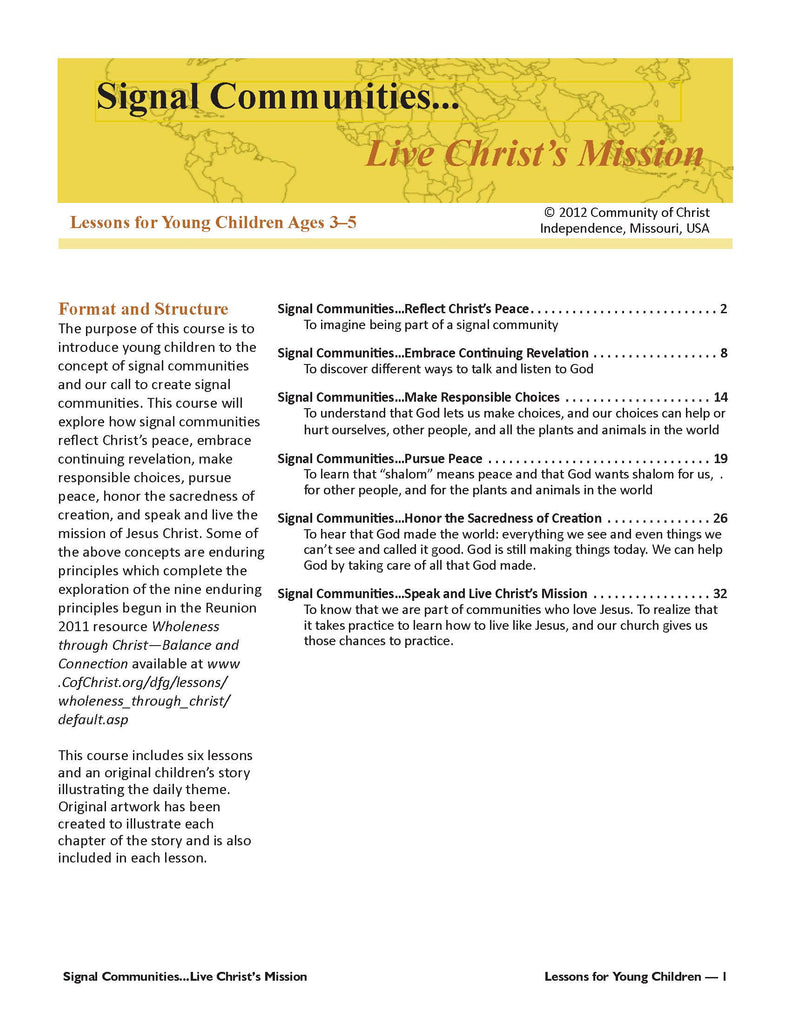 Signal Communities...Live Christ's Mission: Lessons for Young Children (PDF Download)
