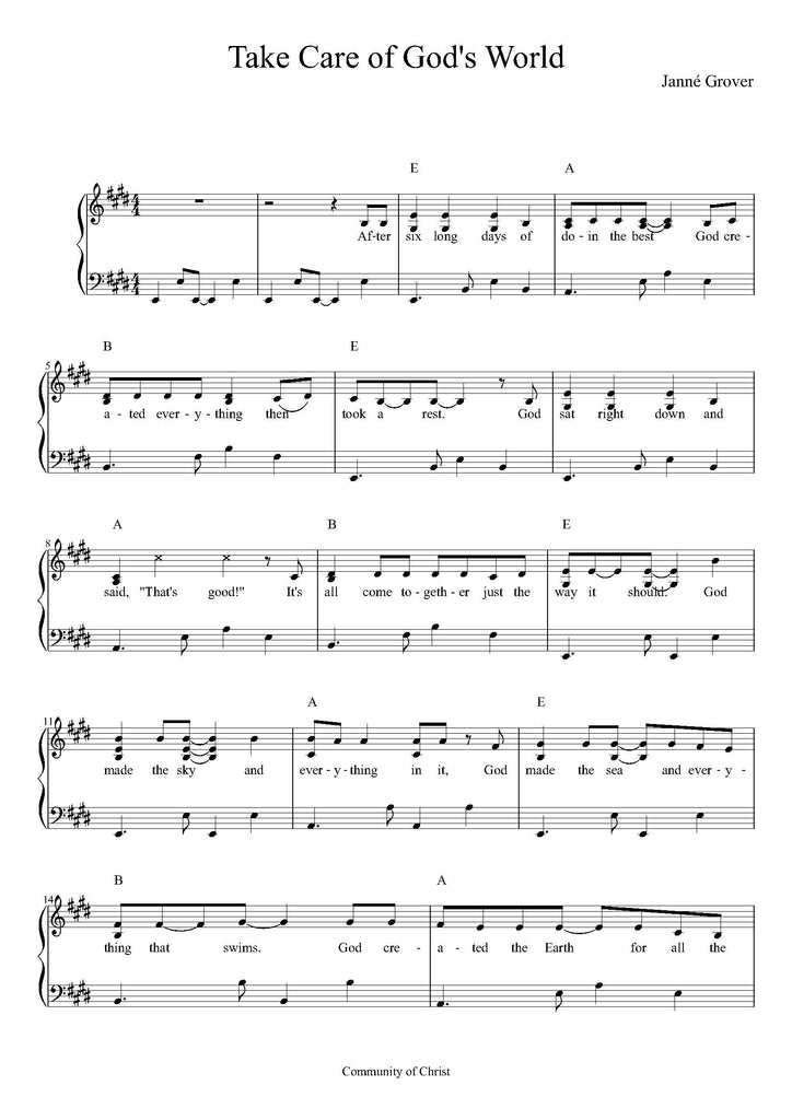 Sheet Music - Take Care of God's World (PDF Download)