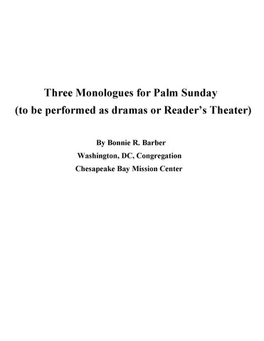 Three Monologues (PDF Download)
