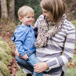 Baby & toddler carrier. Baby hip seat with waist belt support for parent, remove-able shoulder straps. Convertible baby carrier.