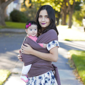 Brown - Infant & baby wrap carrier with a pocket. Best carrier for newborns and kangaroo care.